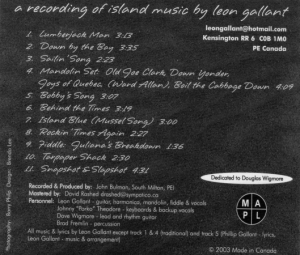 Back cover of Down by the Bay CD
